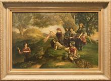 """David Jacobsen 19th Century Landscape Oil Painting """"Children Playing"""""""