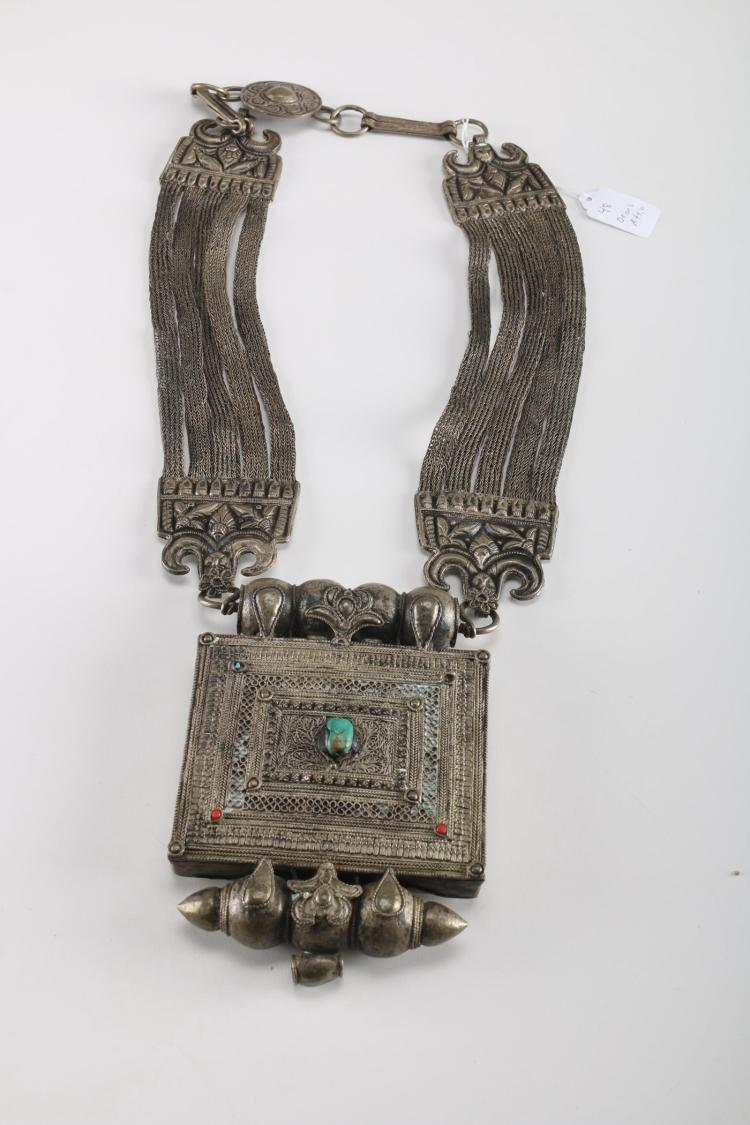 Rare Genuine Antique Silver Tibetan Amulet / Prayer Box Pend