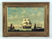 """Large Salvatore Colacicco Seascape Nautical Oil Painting """"A View of Antwerp"""""""