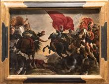 "17th Century Oil Painting by Flemish Old Master Vincent Adriaenssen Leckerbetien (Il Manciola) Entitled ""Cavalry Battle Scene"""