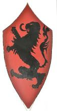 Large Red Wooden Shield Decorated with a Black Lion Rampant