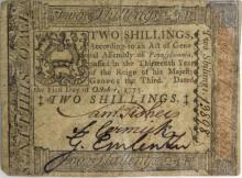 1773 Pennsylvania 2 Shilling Colonial Currency