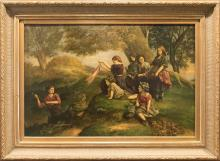 19th Century Oil painting by David Jacobsen - Landscape Scene with Children Playing