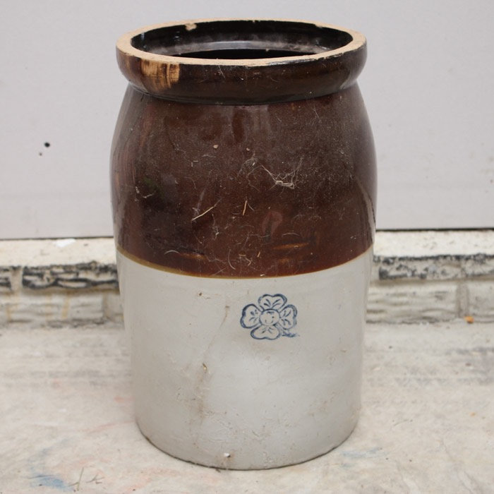 Antique 19th Century Miller Pottery Stoneware Five Gallon Cr