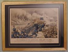 Original Civil War Currier & Ives Hand Colored Lithograph – The Storming of Fort Donelson, Tennessee