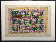 Vintage Mexican Amate Folk Art Painting by Antonia Francio