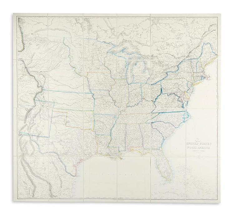 Large Civil War Map of United States by Theodor Ettling
