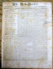 Original 1836 New Yorker Newspaper Containing President Andrew Jackson's Speech Regarding Indian Removal & Trail of Tears