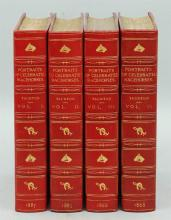 """19th Century Leather Books from the Personal Library of Tom Clancy – Thomas Henry Taunton 4 Volume Set """"Portraits of Celebrated Racehorses"""""""