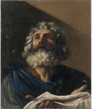 """Italian School Oil Painting in the Manner of Guercino Entitled """"Saint Pierre"""""""