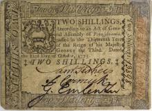 Antique Colonial Currency – 1773 Pennsylvania 2 Shilling Colonial Note