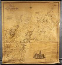 Very Large Rare English Library Map from 19th Century