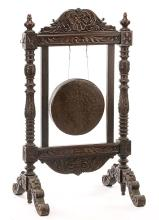 Beautiful Antique Victorian Carved Wood Suspended Gong