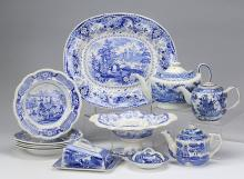 19th Century Arcadian Chariots 12 Piece Blue and White Transferware