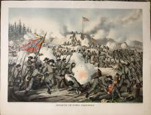 "Rare Original Kurz & Allison Antique Chromolithograph Entitled ""Assault on Fort Sanders"" (1891) – Knoxville Tennessee Civil War Battle Involving Generals Longstreet & Burnside"