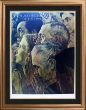 """Rare Norman Rockwell Limited Edition Collotype Entitled """"Freedom of Worship"""""""
