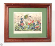 Original Currier & Ives Hand Colored Lithograph of the Civil War Battle of Bull Run