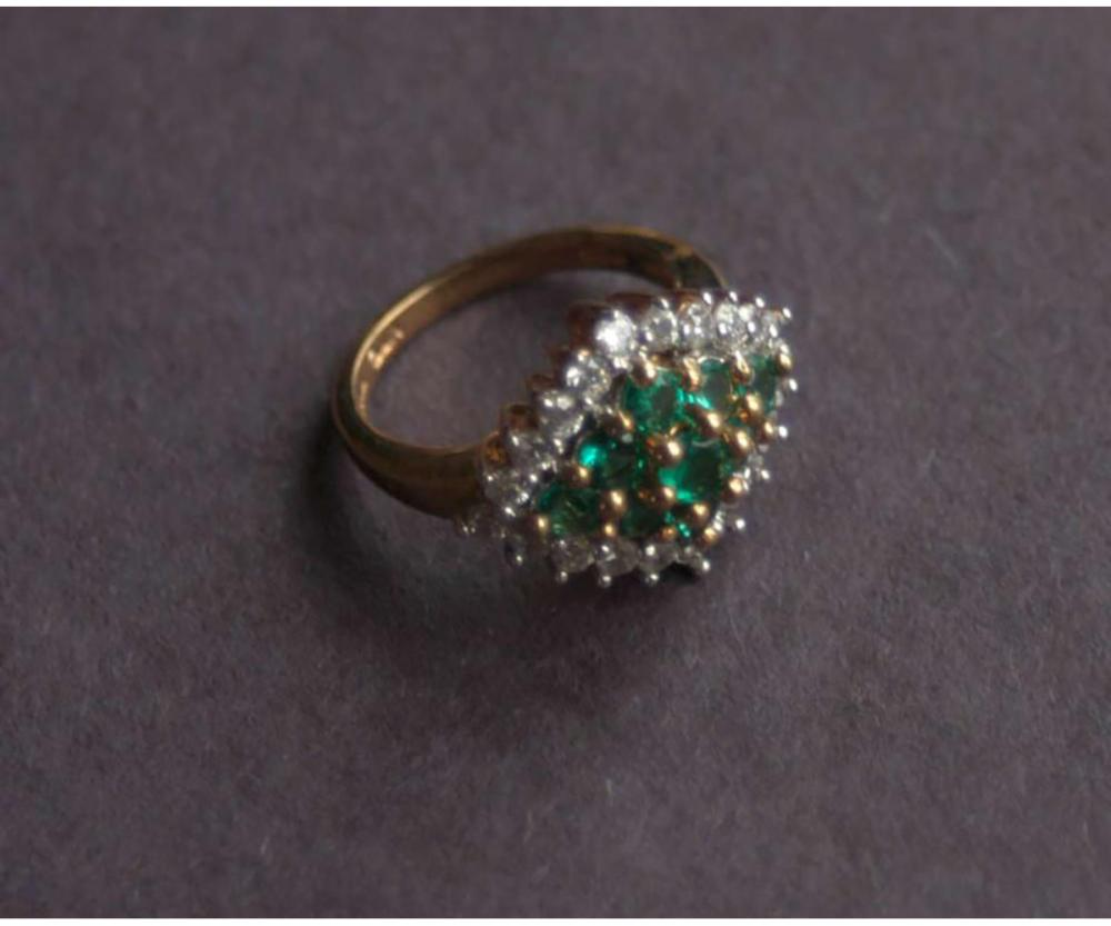 1249a275501fb Vintage Estate Jewelry: Emerald Ring on Gold Over 925Sterling Silver