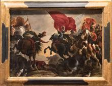 17th Century Oil Painting by Flemish Old Master Vincent Adriaenssen Leckerbetien (Il Manciola) CAVALRY BATTLE SCENE