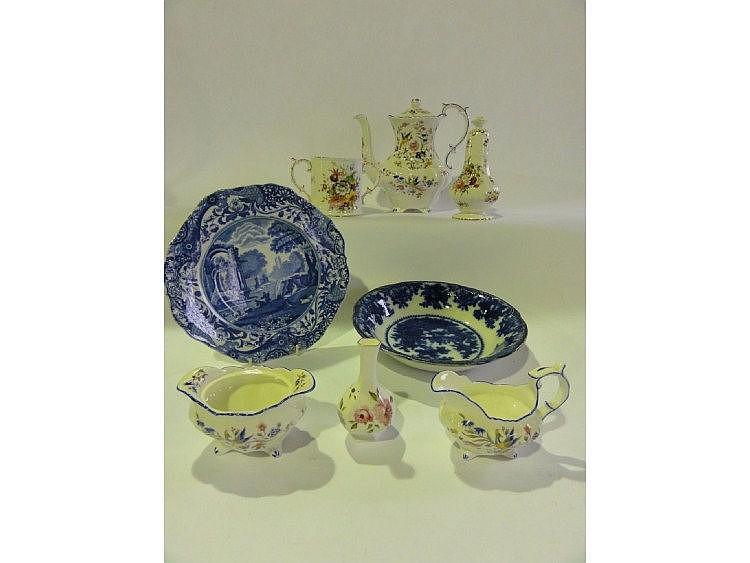A Flow Blue William Adams bowl, a Spode Italian