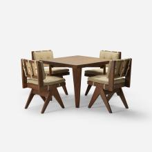 Pierre Jeanneret, cafeteria table and four chairs from Chandigarh