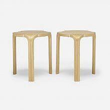 Alvar Aalto Fan-leg stools, pair