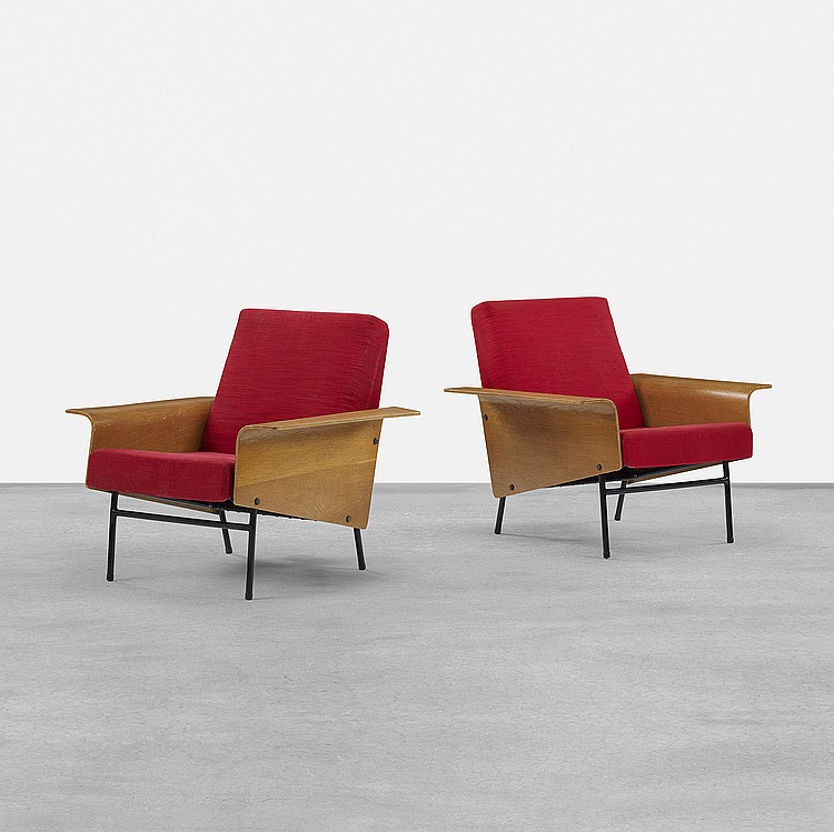 Pierre Guariche G10 lounge chairs, pair