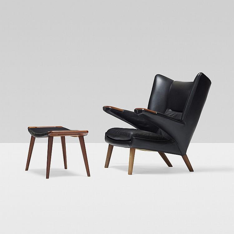 Hans Wegner rare Bear chair and ottoman