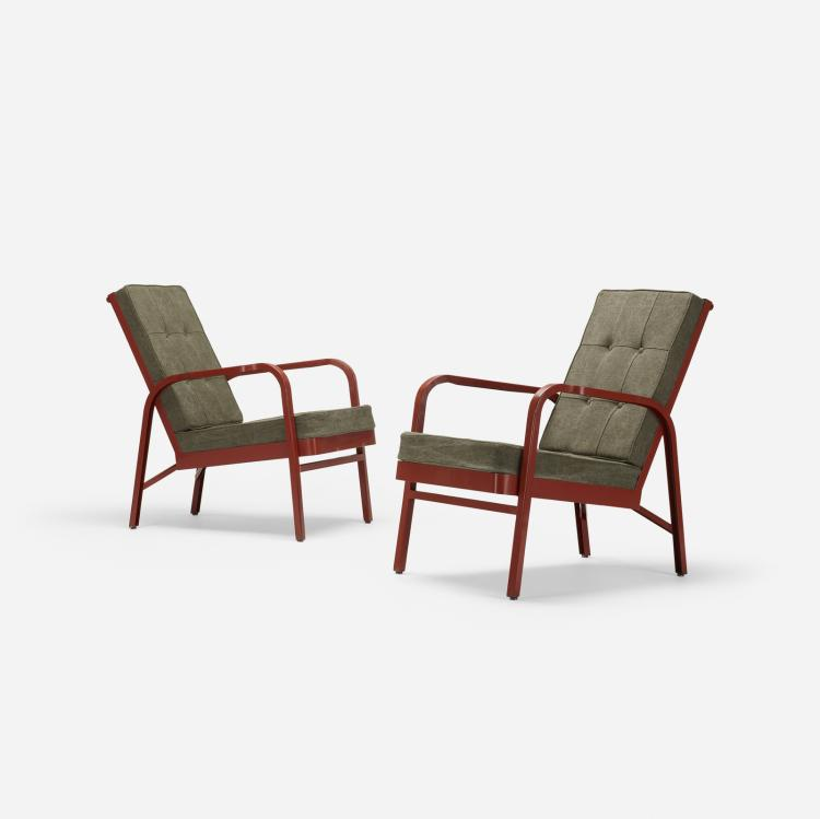 Jean Prouve and Jules Leleu, pair of armchairs for Martel de Janville Sanatorium, Plateau d'Assy