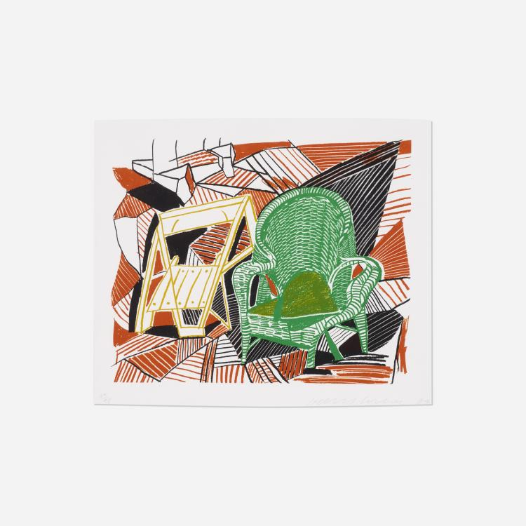 David Hockney, Two Pembroke Studio Chairs (from The Moving Focus series)