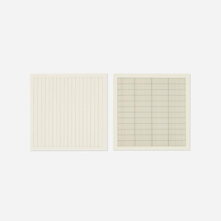 Agnes Martin, Untitled (two works from the Paintings and Drawings: Stedelijk Museum Portfolio)