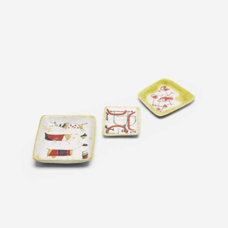Guido Gambone, collection of three dishes