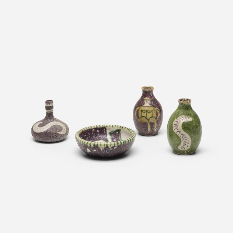 Guido Gambone, collection of four vessels