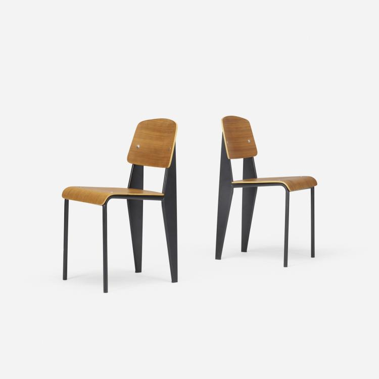 Jean Prouve, Standard chairs, pair