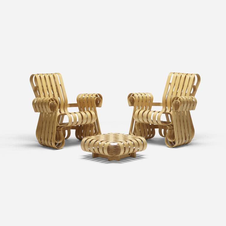 Frank Gehry, Power Play lounge chairs pair with ottoman