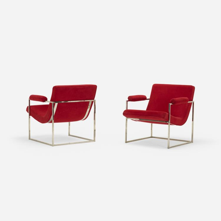 Milo Baughman, armchairs, pair