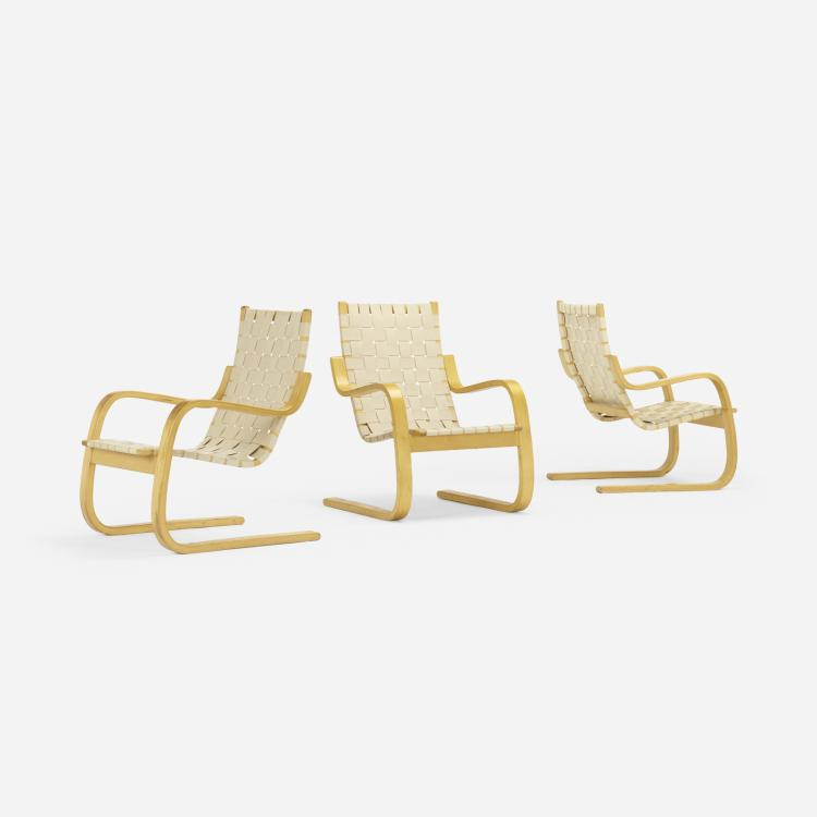 Alvar Aalto, Cantilevered chairs model 406, set of three