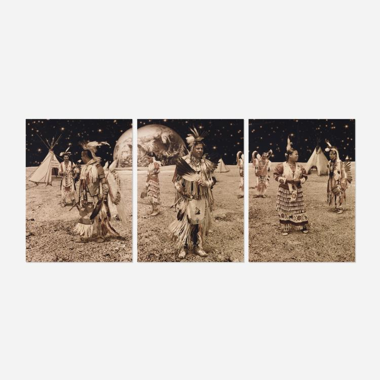 Yoshio Itagaki, Native American Reservation on the Moon #4 (triptych)