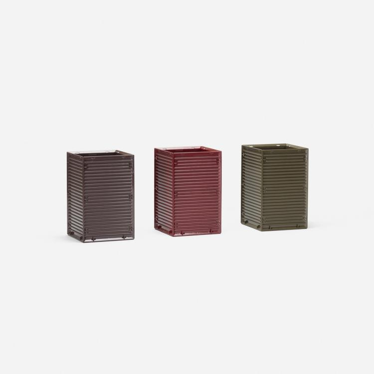 Ettore Sottsass, Synthesis 45 wastepaper baskets, set of three