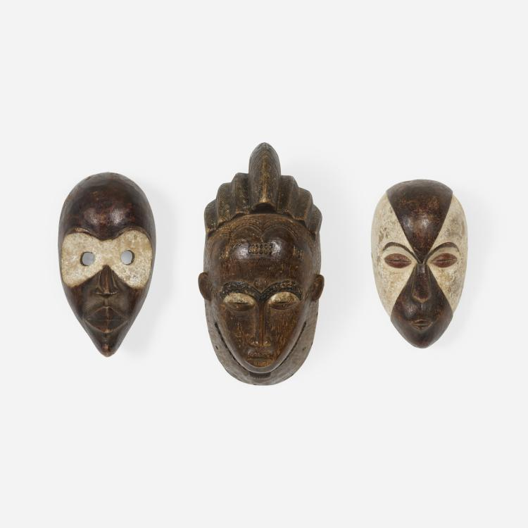 African, collection of three masks