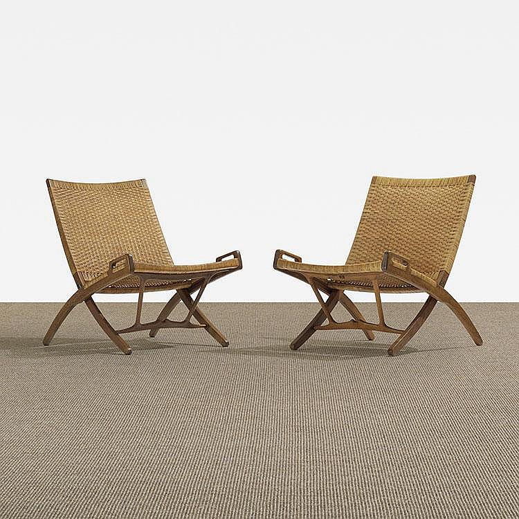 Hans Wegner folding chairs, pair