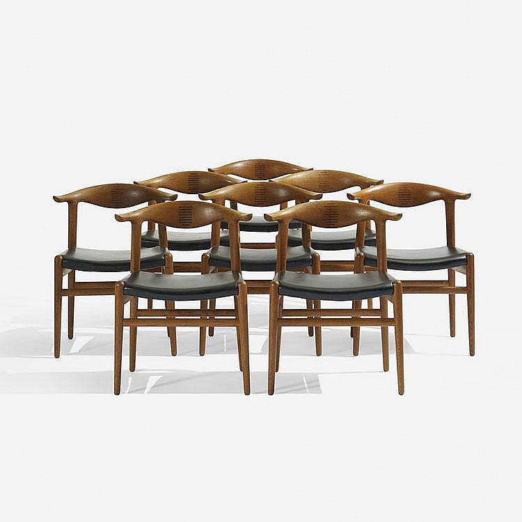 Hans Wegner Cow Horn chairs, set of eight