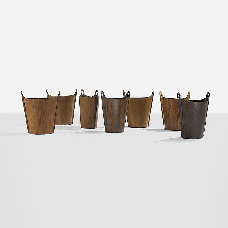 P.S. Heggen wastepaper baskets, set of seven