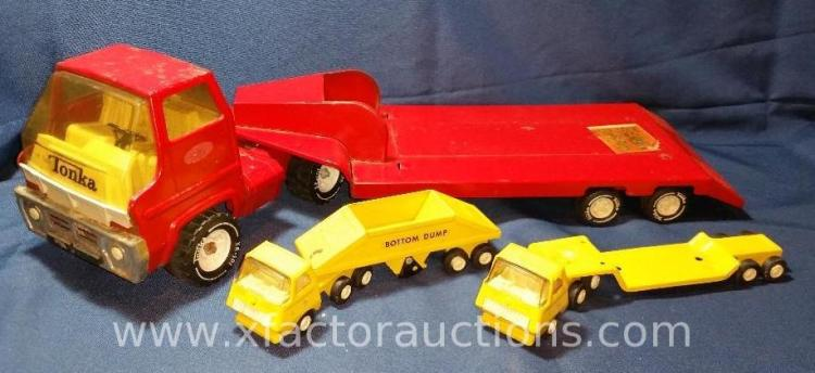 Vintage Tonka Red Truck Trailer 2 Mini Trucks