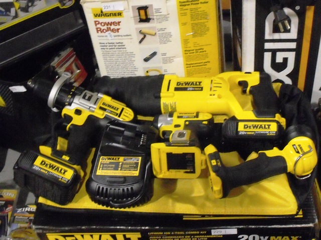DeWalt 20V Lithium Ion 4-Tool Combo Kit, Drill, Impact, Reciprocating Saw and Work Light