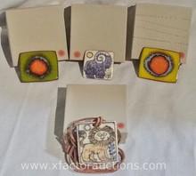 (2) Vintage Brondsted Denmark Enamel over clay Tile pins & Necklace