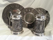 (2) Vintage Pewter Tankard/Stein with Lift Top Lid & Other