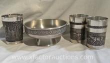 Vintage ASN German Pewter Water Cups and Pewter Bowl