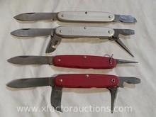 (2) Vintage Elinox & (2) Vintage Wenger Delemont #65 pocket knives