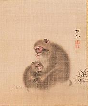 MORI SOSEN (1747 - 1821):MONKEY MOTHER WITH BABY